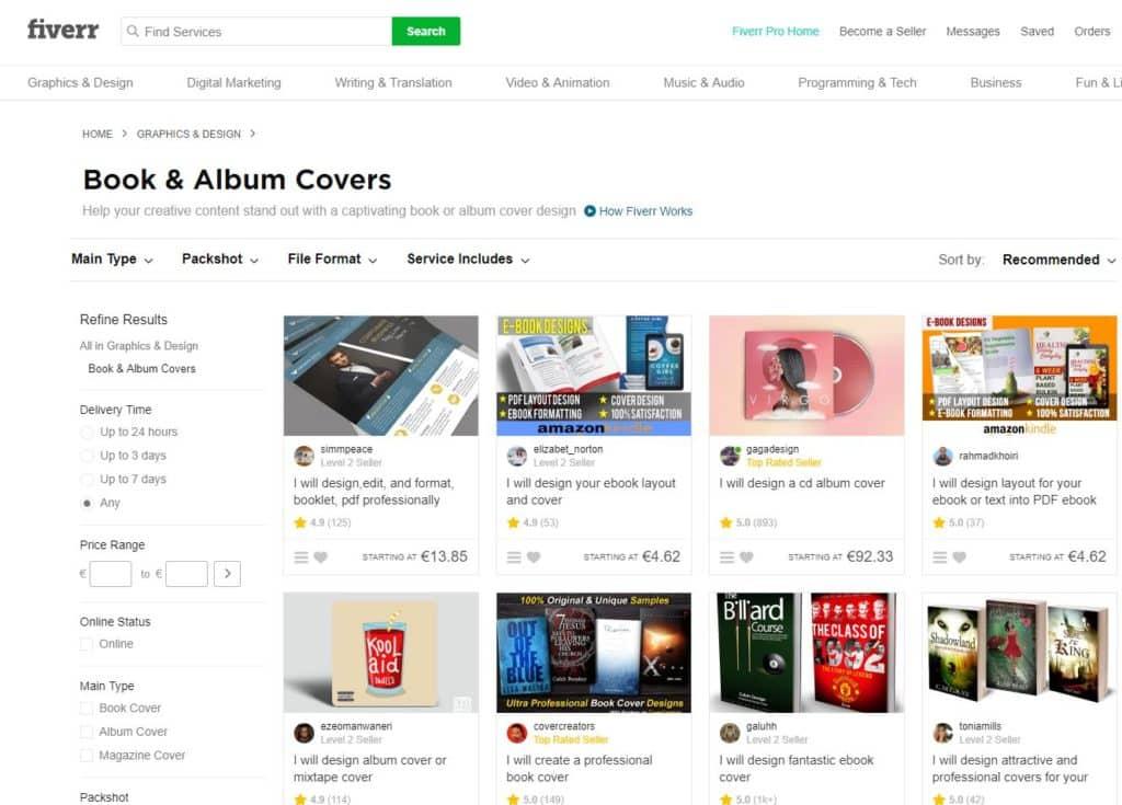 Fiver - englischsprachige Plattform mit vielen Cover-Designern
