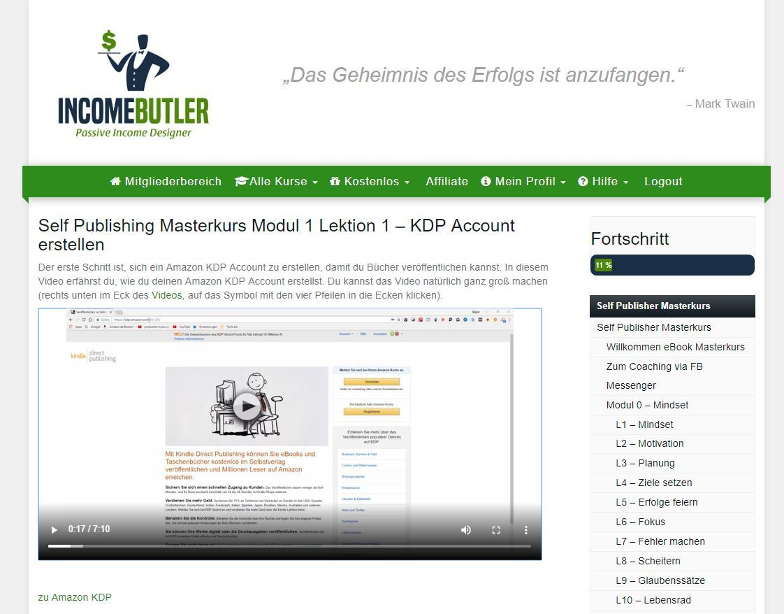 Incomebutler - Selfpublishing Masterkurs - Video Lektion 1.