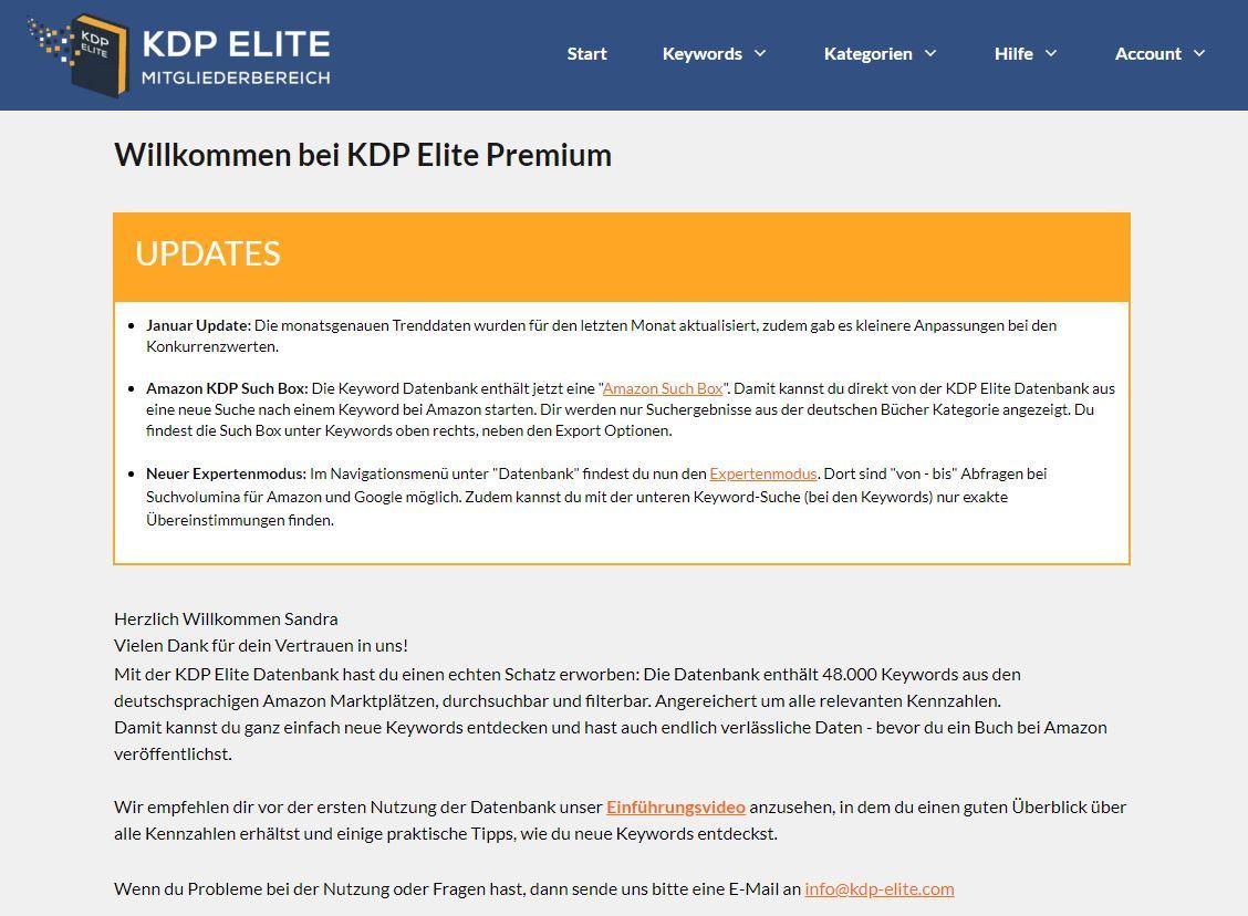 KDP Elite Erfahrungen - Einblick ins Dashboard.