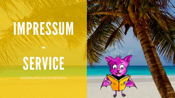 Impressum-Service auf den Seychellen - Titelbild - Strand mit Maskottchen
